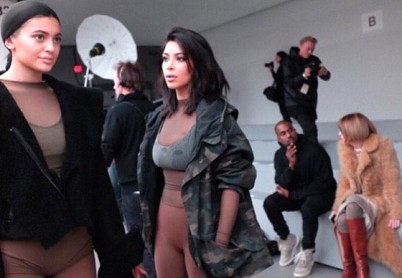 Kim Kardashian, Kylie Jenner, Kanye West and Anna Wintour at Yeezy Season 1